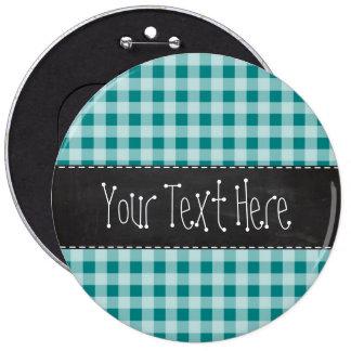 Dark Cyan Gingham; Retro Chalkboard look Pinback Buttons