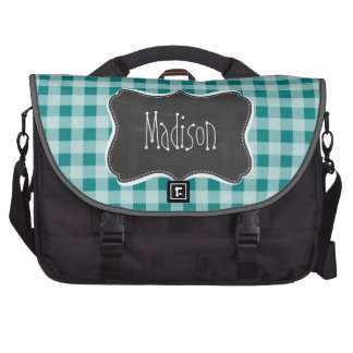 Dark Cyan Gingham; Retro Chalkboard look Laptop Messenger Bag