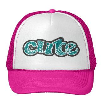 Dark Cyan Paisley; Floral Trucker Hat