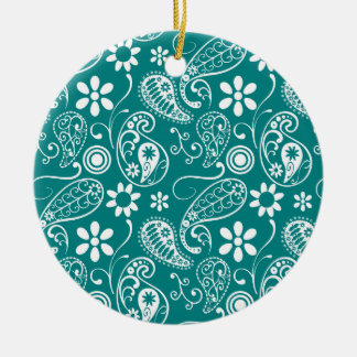 Dark Cyan Paisley; Floral Double-Sided Ceramic Round Christmas Ornament