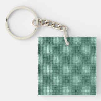 Dark Cyan With Simple White Dots Keychains