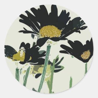 Dark Daisies Classic Round Sticker