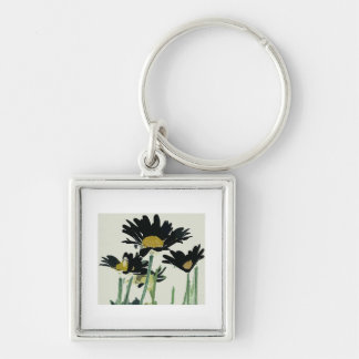 Dark Daisies Silver-Colored Square Key Ring