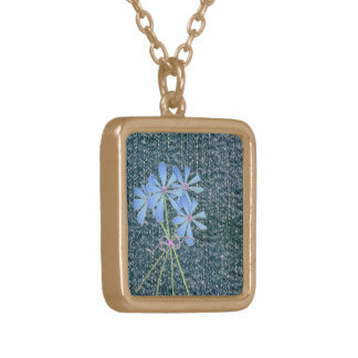 Dark Demin Art Square Pendant Necklace