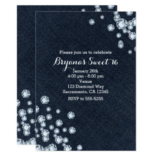 Dark Denim & Diamonds Birthday Party Invitation