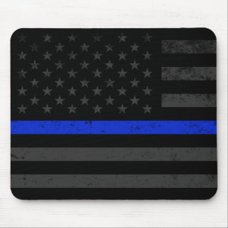 Dark Distressed Police Style American Flag Mouse Mat