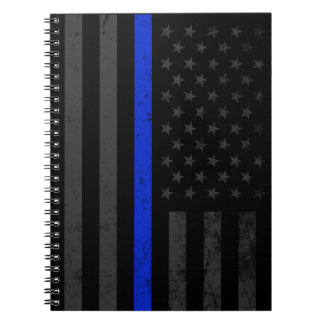 Dark Distressed Police Style American Flag Notebook