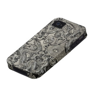 dark dragons- silver iphone iPhone 4 covers