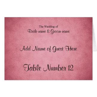 Dark Dusky Pink Mottled Pattern Wedding Place Card