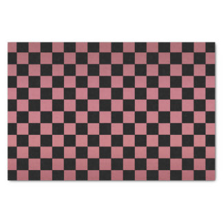 Dark Dusty Rose and Black Checks Tissue Paper