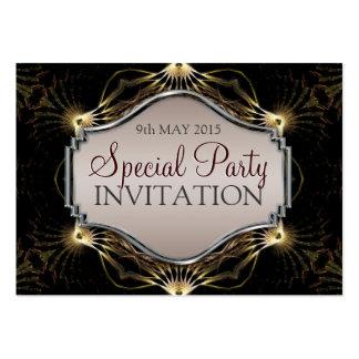 Dark Elegance Fractal Art Mini Invitations Business Cards