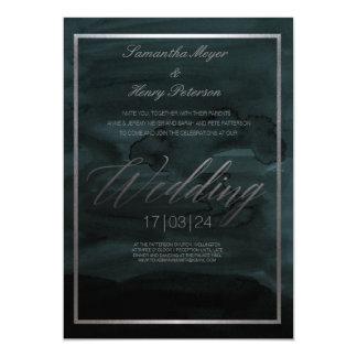 Dark Elegant Abstract Landscape Wedding Invitation