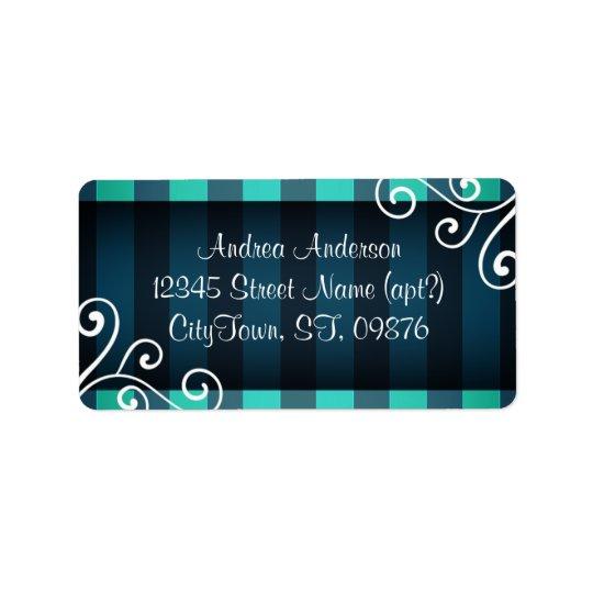Dark Elegant aquamarine teal decor Label