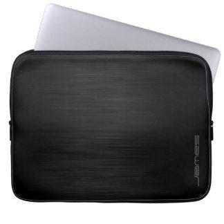 dark elegant perforated metal personalized by name laptop sleeve