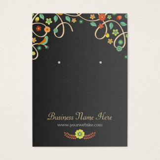 Dark Elegant Swirl Floral Earring Cards