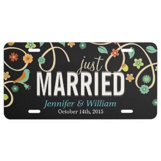 Dark Elegant Swirl Floral Just Married License Plate