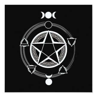 Dark Elemental Pentagram Invitations