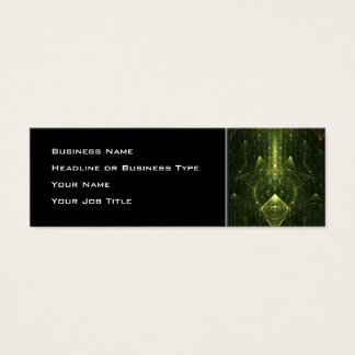 Dark Emerald Green Faces. Fractal Art. Mini Business Card
