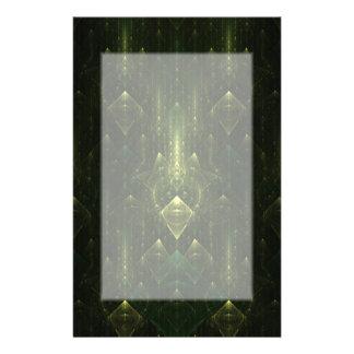 Dark Emerald Green Faces. Fractal Art. Stationery Paper