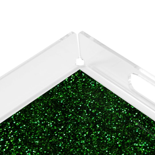 Dark Emerald Green Glitter Acrylic Tray