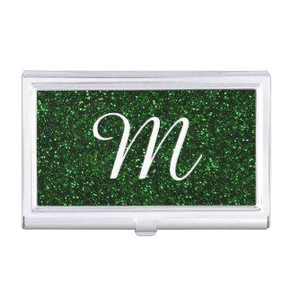 Dark Emerald Green Glitter Business Card Holder