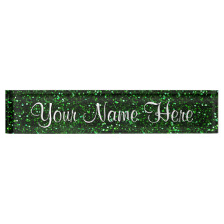 Dark Emerald Green Glitter Nameplates