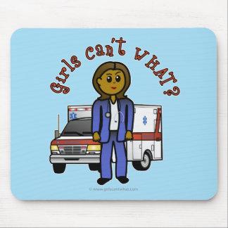 Dark EMT Paramedic Girl Mousepads