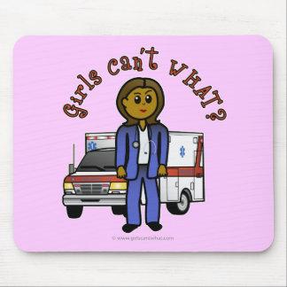 Dark EMT Paramedic Girl Mouse Pads