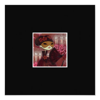 """Dark Fairy Tale Character 10 - Masked Lady 5.25"""" Square Invitation Card"""