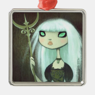 Dark Fairy Tale Character 6 Square Metal Christmas Ornament