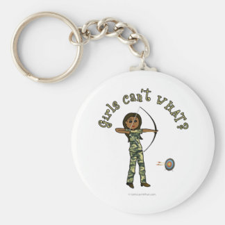 Dark Female Archery in Camouflage Basic Round Button Key Ring