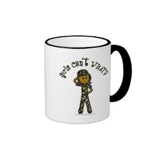Dark Female Army Girl Coffee Mugs