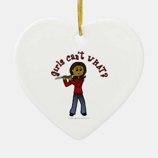 Dark Female Flute Player Ceramic Heart Decoration