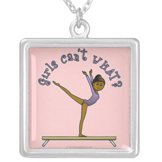 Dark Female Gymnast on Balance Beam Silver Plated Necklace