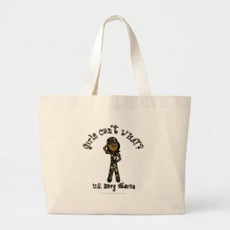 Dark Female Navy Veteran Jumbo Tote Bag