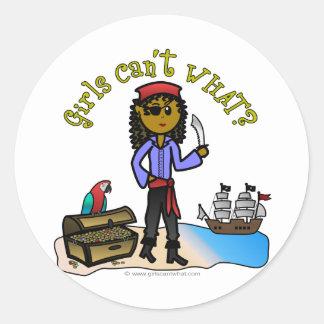 Dark Female Pirate Round Sticker