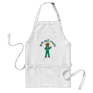 Dark Female Surgeon in Green Scrubs Standard Apron