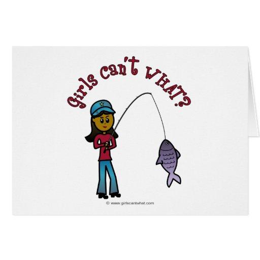 Dark Fishing Girl Greeting Cards
