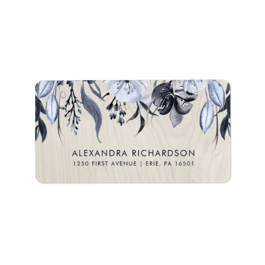 Dark Floral and White Wood Wedding Address Label
