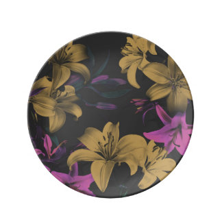Dark Floral Decorative Porcelain Plate