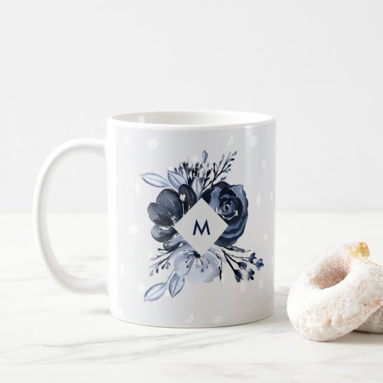 Dark Floral | Modern Watercolor with Monogram Coffee Mug