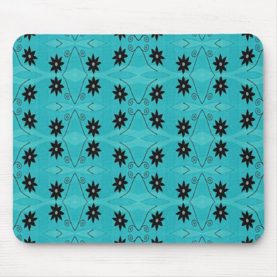 dark floral on turquoise mouse mat
