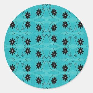 dark floral on turquoise round sticker
