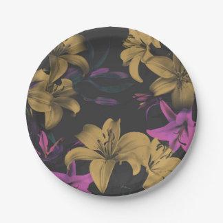 Dark Floral Paper Plates
