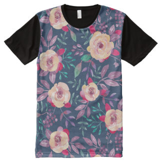 Dark Floral Pattern with pink and turquoise flower All-Over Print T-Shirt