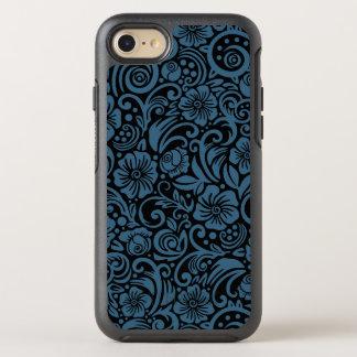 Dark Floral Steel Blue iPhone Case