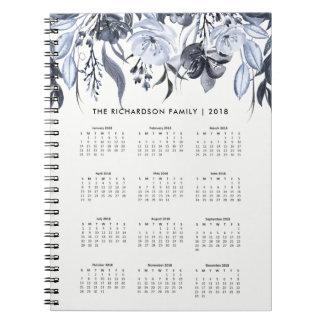 Dark Floral Watercolor | 2018 Calendar Notebook