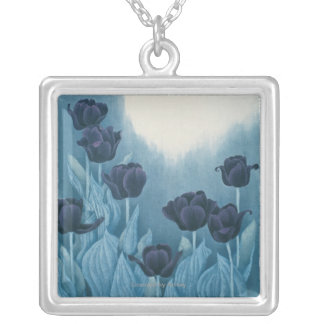 Dark Flowers Silver Plated Necklace
