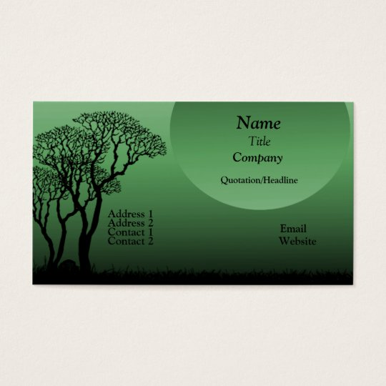 Dark Forest Business Card, Forest Green Business Card