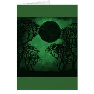 Dark Forest Eclipse Card, Green Note Card